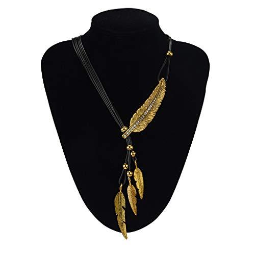SMILEQ Ketten Legierung Feder antike Vintage Zeit Halskette Pullover Kette Anhänger Schmuck (4.5X4cm, Gold)