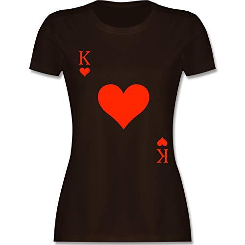 Carnival King Kostüm - Karneval & Fasching - King Kartenspiel Karneval Kostüm - M - Braun - L191 - Damen Tshirt und Frauen T-Shirt