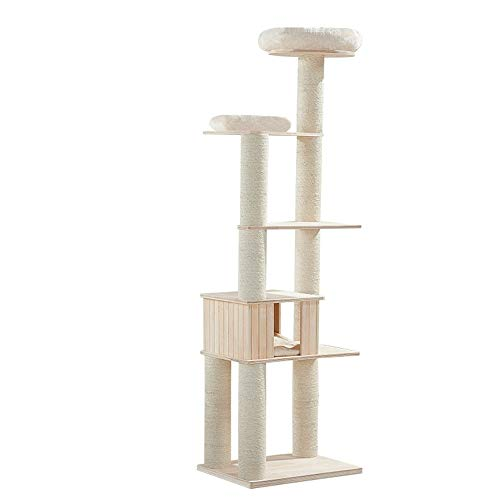 Huanlei Kratzbaum-Turm Sisal Spalte Katzentoilette Katzen-Haustier-Katze-Spielzeug-Katze Springen Plattform Massivholz Katze Kletterbaum Haustier-Katzen-Baum-Haus Kratzmöbel -