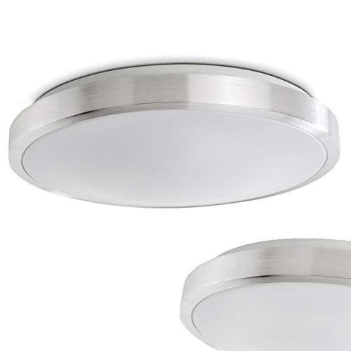 LED Deckenspot in Alu gebürstet – Wutach Badezimmer Deckenlampe – Deckenlicht auch für Flur, Wohnzimmer, Diele – runde LED Deckenlampe mit weißem Schirm - 3000 Kelvin warmweißes Licht – 1350 Lumen