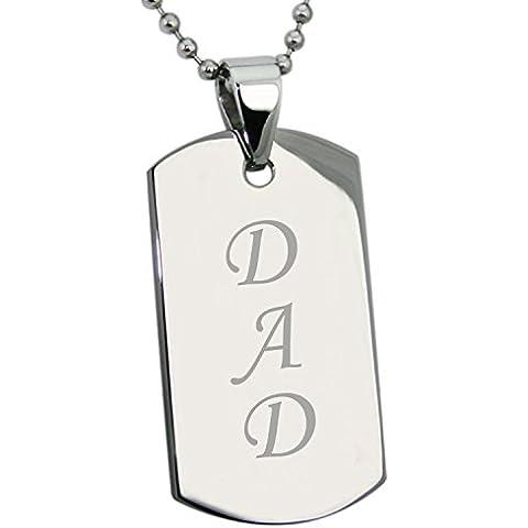 Acciaio inossidabile DAD (Papà) Inciso Medaglietta di Riconoscimento Dog Tag Pendente