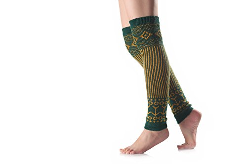 Butterme Frauen Knie Hohe Häkeln Strickbein Wärmer Vertikale Streifen Stiefel Manschetten für Mädchen Damen (Grün) (Knit-streifen-stulpen)