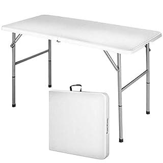 Maxx Table Pliante Transportable, Table en Plastique Robuste - Matériau: HDPE - Charge maximale: 100 kg - 122 x 61 cm, Blanc, Pliable en Deux