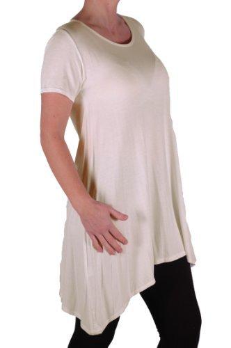 EyeCatch Plus – T- Shirt uni manches courtes drapé col rond stretch – Femme Crème