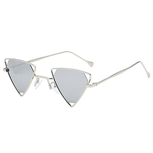 Moderne Sonnenbrillen Vollrand Charmante Damen mit bunten Dreieck Brille Mode Mädchen Eyewear Metallrahmen hohe Qualität Einzigartiges Spezielles Design(C,free)
