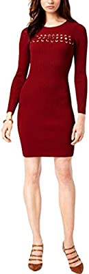 Michael Kors Womens Lace Front Ribbed Casual Dress Red S