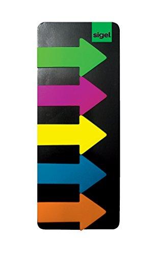 SIGEL HN600/10 Haftmarker Pfeile, Film, 10 Stück á 125 Streifen im Format 25 x 45 mm, grün, blau, pink, gelb,
