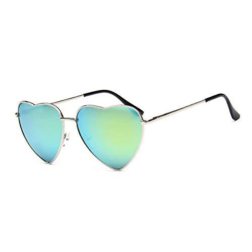 YLNJYJ Herz Sonnenbrille Frauen Retro Spiegel Uv400 Elastizität Bein Metall Sonnenbrille Mode Vintage Lentes De Sol Mujer