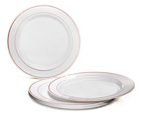 Einwegteller aus Kunststoff, für Hochzeit, Party, 40 Stück, plastik, White With Rose Gold Rim, Dinner Plate Gold Rim Dinner
