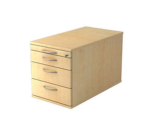 Rollcontainer mit 3 Schubladen DR-Büro - Maße 42,8 x 80 x 51,2 cm - in 6 Farbvarianten - abschließbar - eine Materialschublade, Farbe Büromöbel:Ahorn -