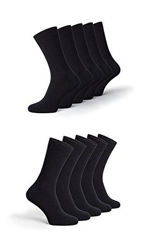 Greylags - 10er Pack - Trendige PREMIUM Baumwollsocken als Damen und Herren - Business Socken Freizeitsocken schwarz (Größen 39 40 41 42)