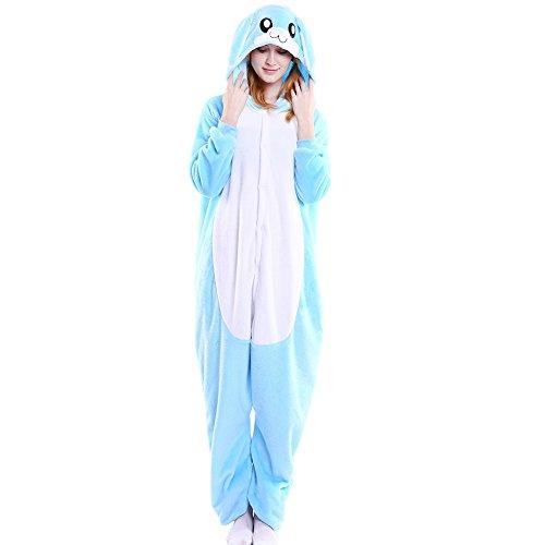 er Pyjama Jumpsuit Cosplay Unisex Cartoon Karneval Halloween Kostüm Fleece Overall Pyjamas, Blaues Kaninchen, L (empfohlene Höhe 165-172 cm) ()