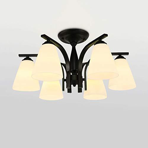 WPOLED 3-6Lights American Country Hot Gebogene Schmiedeeisen Glas Deckenleuchte Restaurant Einfachheit Pendelleuchte Atmosphärische Wohnzimmer Schlafzimmer Beleuchtung E27 (Größe : 6-Lights) -