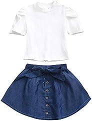 Moneycom❤Conjunto de camiseta de manga corta de algodón sólido para bebé niña + falda vaquera blanco