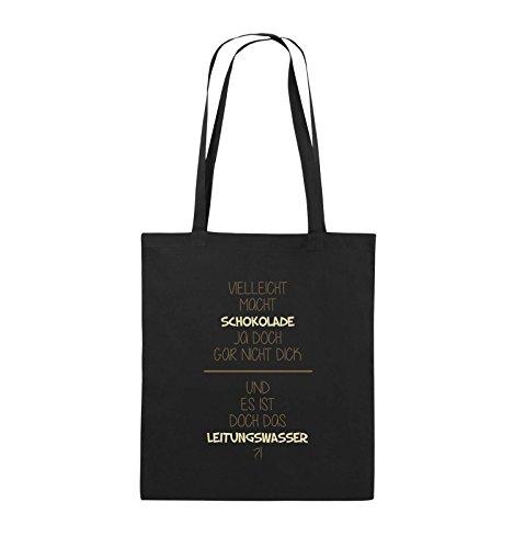 Comedy Bags - Vielleicht macht Schokolade ja doch gar nicht dick. - LEITUNGSWASSER - Jutebeutel - lange Henkel - 38x42cm - Farbe: Schwarz / Weiss-Neongrün Schwarz / Hellbraun-Beige