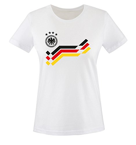 EM 2016 - DEUTSCHLAND - Retro - TRIKOT - Damen T-Shirt - Weiss / Schwarz Gr. L
