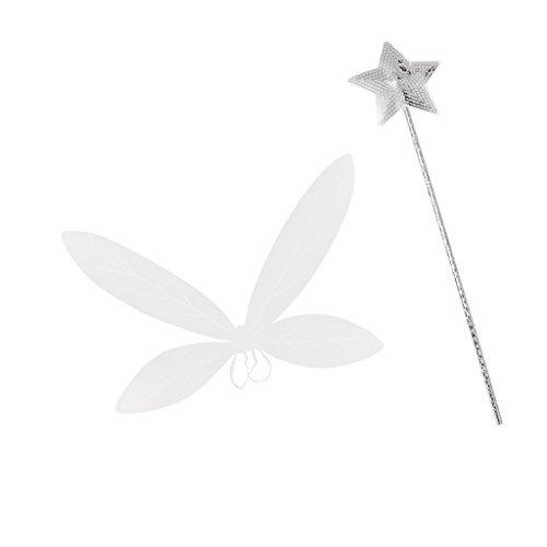etterlingsflügel Elfenflügel Feenflügel und Feenstab Prinzessinnenstab für Kinder Mädchen Cosplay Party Kostüm (Weiße Feenflügel)