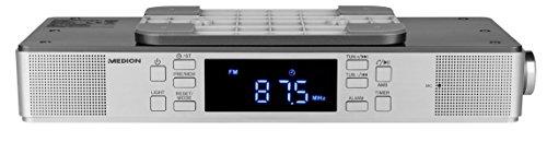 MEDION LIFE E66550 MD 43550 Küchen Unterbauradio mit Bluetooth-Funktion (PLL UKW Radio, Freisprechfunktion, 2 x 2,7 W RMS, Timerfunktion, LED-Display) silber (Küche Radio)