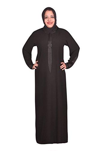 Egypt Bazar Klassische Abaya mit Kopftuch - Farbe: schwarz (36-38 (S))