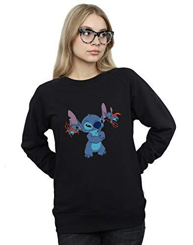 Disney Damen Lilo & Stitch Little Devils Sweatshirt Schwarz X-Large Devils Damen-sweatshirts