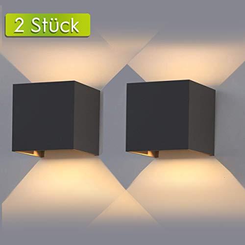 AILUKI LED Wandlampe Wandleuchte Innen/Außen 2er 12W 2800-3000K Warmweiß Außenleuchte Wandbeleuchtung LED Außenwandleuchte mit Einstellbar Abstrahlwinkel IP65 Wasserdichte 1000lm [Energieklasse A++]