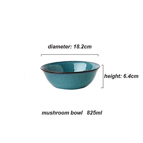 GLP Assiettes à salade Bol de céréales Bol de soupe de nouilles Creative American Bowl Set de Bol Antalya Bleu Vert Domestique Vaisselle Bol à soupe Bol à salade Western Plats (Color : Height6.4cm)