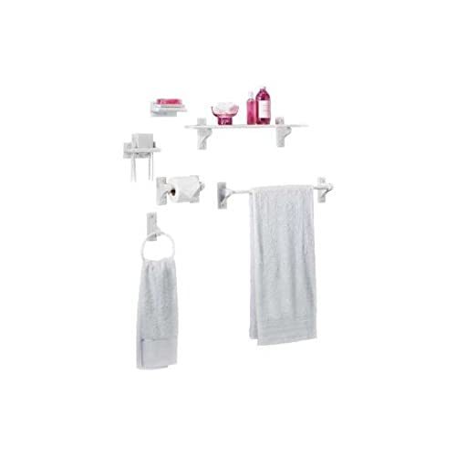 wooden 6 piece bathroom accessory set white