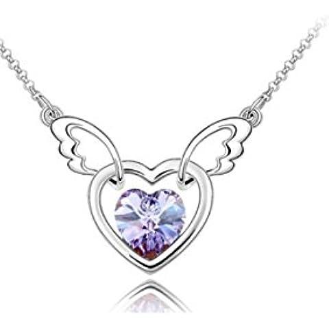 Da donna, placcato oro, con ali d'angelo, a forma di cuore, colore: viola con pendente con elementi Swarovski, Necklace. bellissimo regalo.