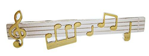 magdalena r. Musikzeile Musiknoten Notenschlüssel Krawattennadel Klammer 5,9 cm Bicolor inkl. Silberbox