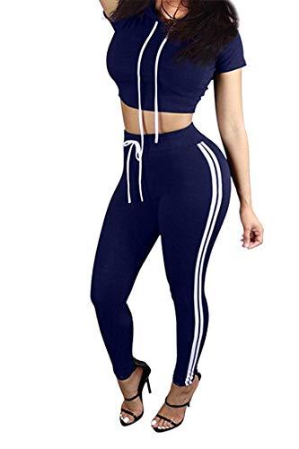 Women's Sport Bodycon Crop Top Long Skinny Pant Short Sleeve Hoodie Set Outfit Sport Sweatsuits