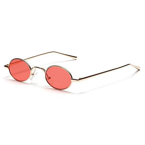 WJFDSGYG Schwarz Kleine Ovale Sonnenbrille Frauen Metallrahmen Gelb Rote Linse Runde Sonnenbrille Für Männer Uv400