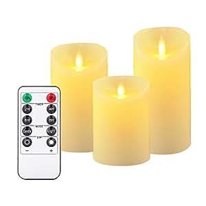 Candele a LED, senza fiamma candele 180ore decorazioni murali di candele di colonne nel Set di (10,2cm 12,7cm 15,2cm, Je Ø 8cm). REALISTICO tremolante LED fiamma vera cera in colore avorio. 10tasti del telecomando con funzione di timer 24ore (3* 1, Ivory)