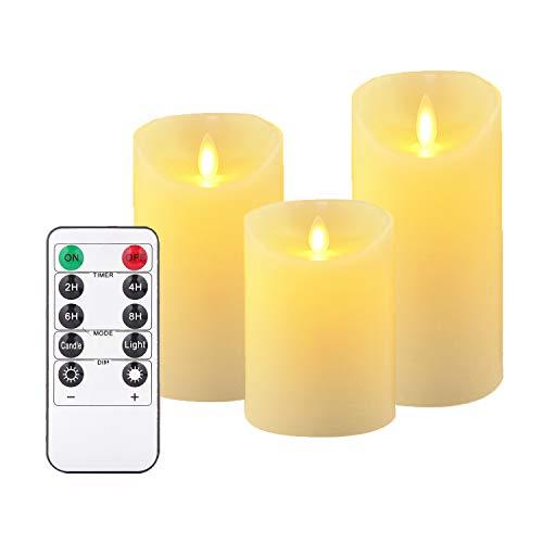 (LED-Kerzen,Flammenlose Kerzen 180 Stunden Dekorations-Kerzen-Säulen im 3er Set (10,2 cm 12,7 cm 15,2 cm,je Ø 8cm). Realistisch flackernde LED-Flammen aus Echtwachs in Elfenbeinfarbe. 10-Tasten Fernbedienung mit 24 Stunden Timer-Funktion (3*1, Ivory))