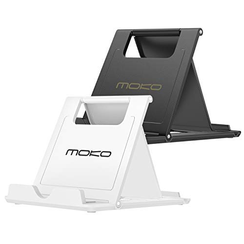 MoKo 2Pz Multi-Angoli Portatile Pieghevole Supporto per Smartphone, Tablet (6-8 Pollici) e E-Reader, Adatta a iPad Mini 5th Gen, iPhone X / 8 Plus / 8, Galaxy S10, Huawei P9 / P8, Bianco + Nero