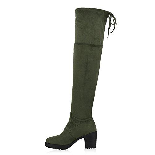 Stiefelparadies Modische Damen Stiefel Profil Sohle Overknees Block Absatz Flandell Dunkelgrün Total