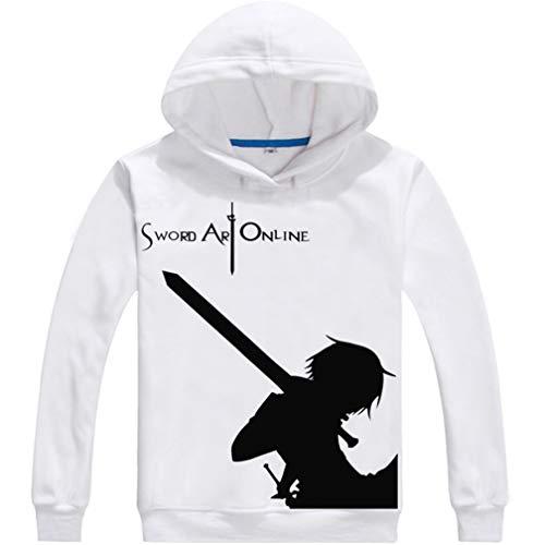 Cosstars Anime Sword Art Online Sao Hoodie Sudaderas con Capucha Cosplay Disfraz Pulóver Sweatshirt Outwear Top Abrigo Blanco 3 S