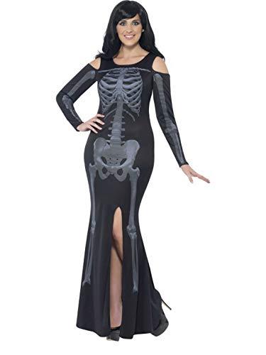 costumebakery - Damen Frauen Kostüm kurviges Weibliches Skelett Kleid im Röntgen Stil, Curvy Skeleton X-Ray Lady, perfekt für Halloween Karneval und Fasching, XL, Schwarz
