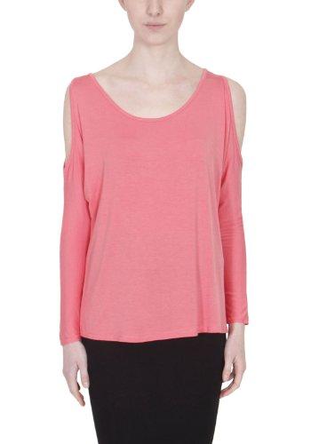 Damen Lang Flügelärmel Damen Stretch Rund U-ausschnitt Schulter Ausgeschnitten Offen Baggy T-Shirt Top Koralle