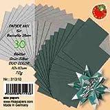 Bascetta Sterne Papier DUO 10 x 10cm grün/silber 30 Stck. 70g/m²