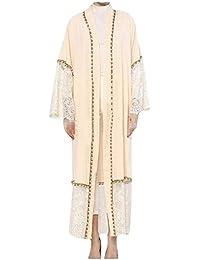 Lejorce Cárdigan musulmán de Encaje de Mujer Abaya Vestido Largo de árabe ...