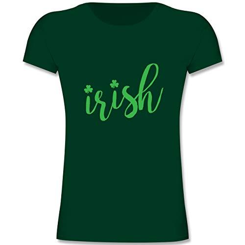 ish - St. Patricks Day Schriftzug - 104 (3-4 Jahre) - Tannengrün - F131K - Mädchen Kinder T-Shirt ()