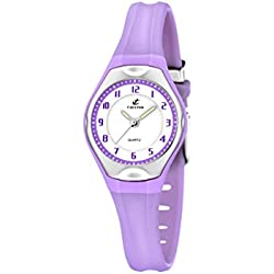 Calypso Women's Quartz Watch with White Dial Analogue Display and Purple Plastic Strap K5163/N