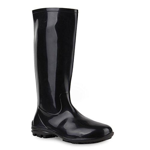 Damen Stiefel Leo Print Gummistiefel Regen Boots Karneval Kostüm Fasching Disco Karnevalskostüm 70er Schuhe 110292 Schwarz 39 | (Kostüme Disco Style)