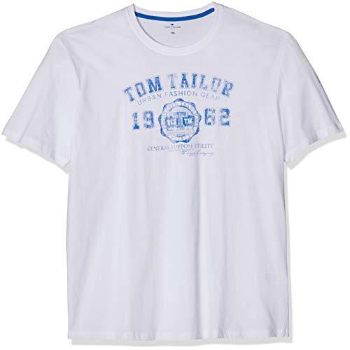 TOM TAILOR für Männer T-Shirts/Tops T-Shirt mit Logo-Print White, XL
