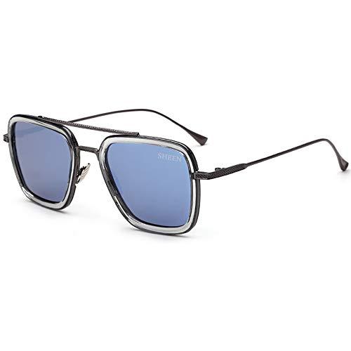 SHEEN KELLY Luxus Retro Sonnenbrille Tony Stark Brillen Quadratische Metallrahmen für Männer Frauen Klassiker Sonnenbrille Piloten Grau Schwarz Linsen