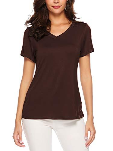 AMORETU Kurzarm T-Shirt Damen Sommer Casual V-Ausschnitt Bluse Tunika Tops Baumwolle Oberteil Shirt Braun 2XL