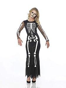 Karnival Costumes- Halloween Skeleton Dress Disfraz, Color blanco y negro, extra-small (84208)