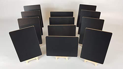 Tafeln mit abgerundeten Ecken (SS), 12 x A5 plus 12 Mini-Holz-Staffeleien plus einen flüssigen Kreidestift.