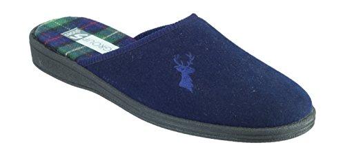 Mirak Mens Buck Embroidered Stag Accent Textile Mule Slipper Navy Bleu roi