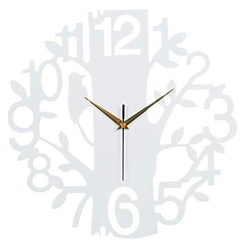Dsrgwe Küchenuhr, Europäische Moderne 3D hölzerne Baum- und Vogel-Dekor-Uhr-stille Nicht tickende Quarz-stumme Uhr, Innenministerium-Schlafzimmer-Dekorationen (Color : Black)